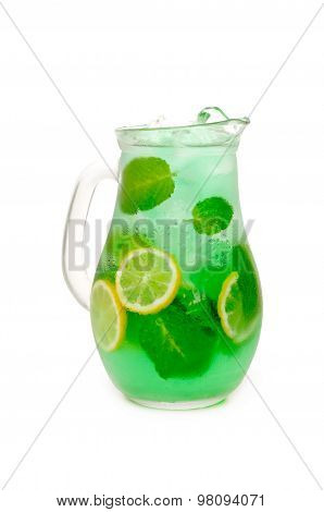 fresh lemonade from lemon and mint