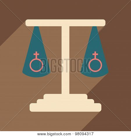 Flat with shadow icon and mobile application sexual equality
