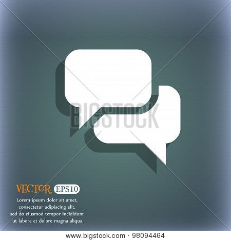 Speech Bubble, Think Cloud  Icon Symbol On The Blue-green Abstract Background With Shadow And Space