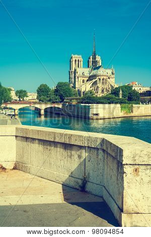 Notre Dame De Paris On The River Seine, Paris, France, Vintage Stylized