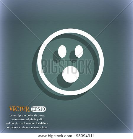 Shocked Face Smiley  Icon Symbol On The Blue-green Abstract Background With Shadow And Space For You