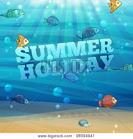 Template design, posters, banners with underwater background with waves, sand, bubbles and colorful