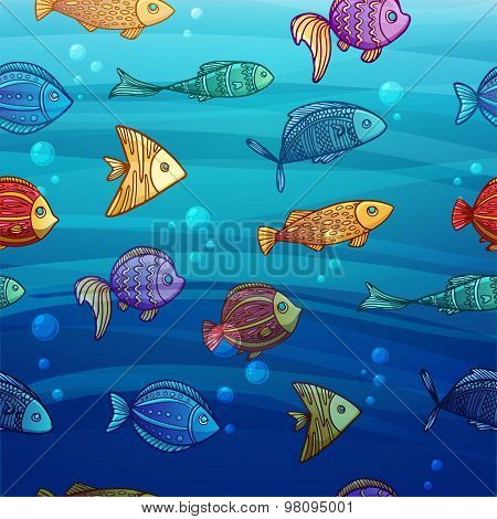 Background with a pattern of colored cartoon fish on sea background with sun light and bubbles. For