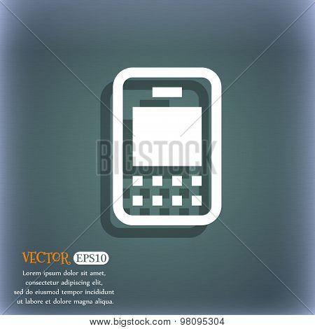 Mobile Telecommunications Technology  Icon Symbol On The Blue-green Abstract Background With Shadow