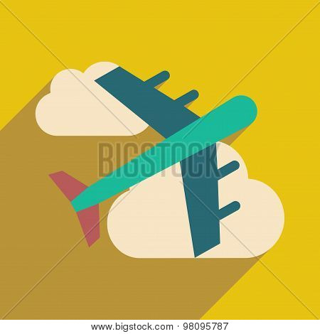 Flat with shadow icon and mobile application airplane