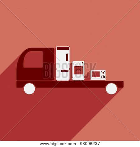 Flat with shadow icon and mobile application delivery household appliances
