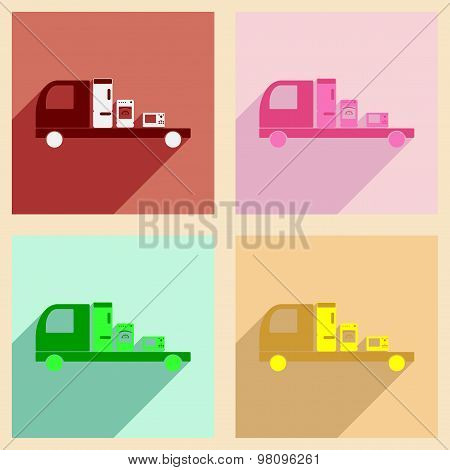 Flat with shadow concept and mobile application delivery household appliances