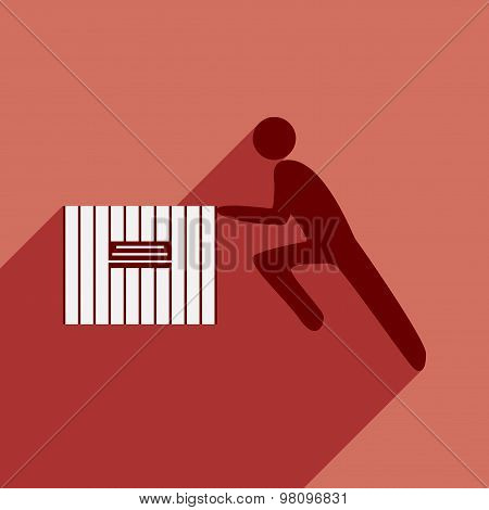 Flat with shadow icon and mobile application people moving box