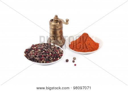 Brass Pepper Mill And Spices