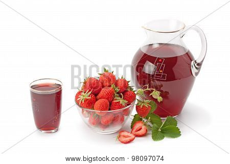 Fresh Strawberries And Strawberry Juice