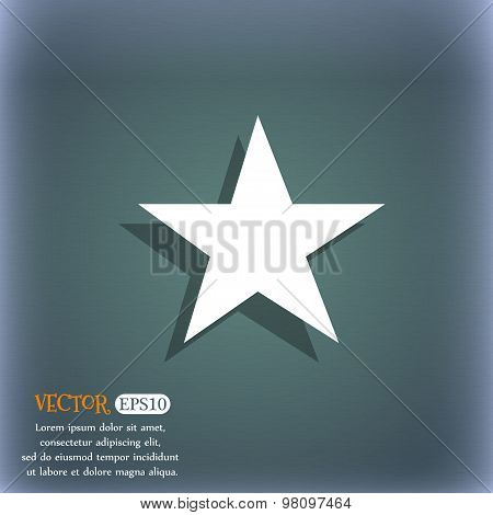 Star, Favorite  Icon Symbol On The Blue-green Abstract Background With Shadow And Space For Your Tex