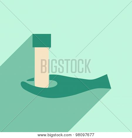 Flat with shadow icon and mobile application lab logo