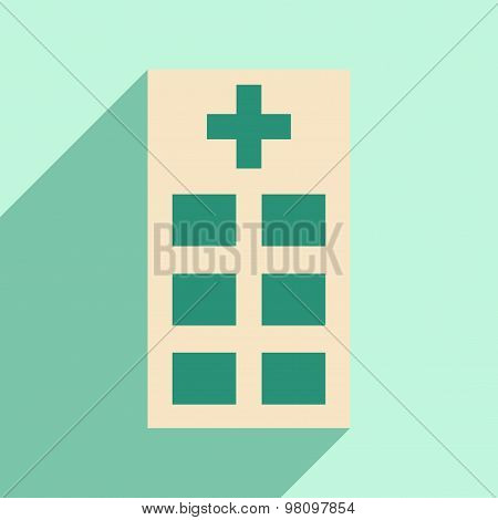 Flat with shadow icon and mobile application policlinic