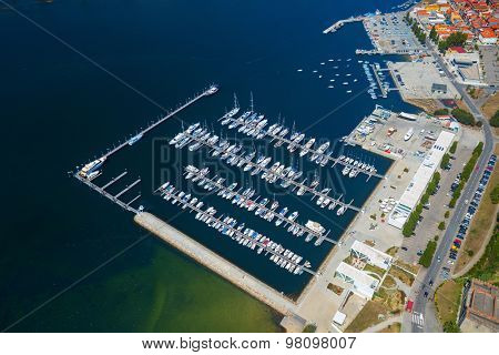 Aerial view of the dock full of yachts on the river of Douro in the city of Porto