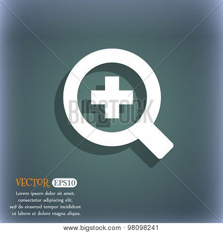 Magnifier Glass, Zoom Tool  Icon Symbol On The Blue-green Abstract Background With Shadow And Space