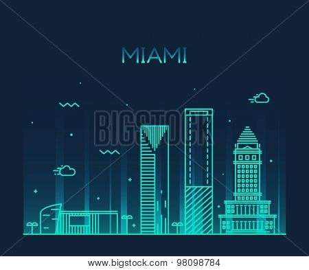 Miami skyline trendy vector illustration linear