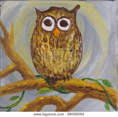 Painting of surprised looking owl big brown eyes on acrylic