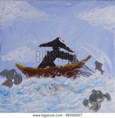 Painting of fisherman casting fishing net on acrylic