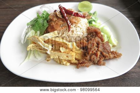 Food thai fried rice with shrimp paste