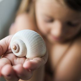 picture of safe haven  - An embaressed girl holding a white snail shell in the palm of her hand offering it - JPG