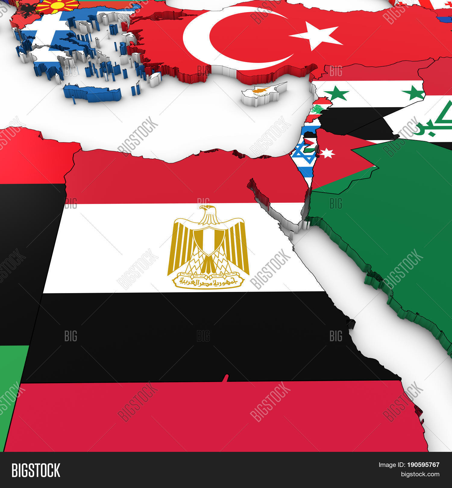 3D Map North Africa Middle East Image Photo Bigstock
