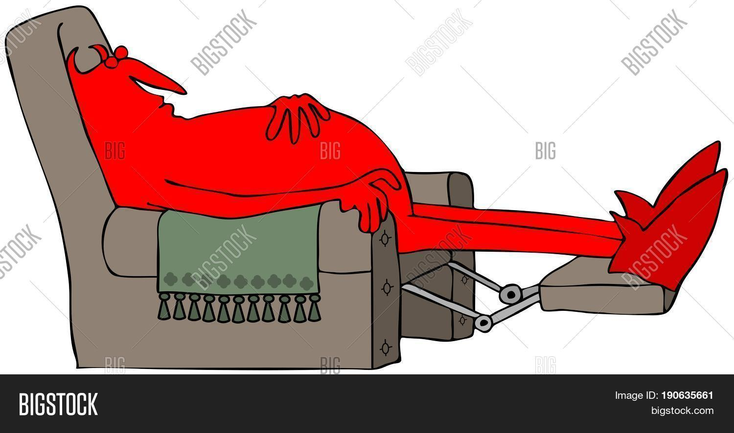of a red devil sleeping on a brown recliner chair