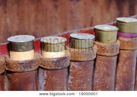 Shotgun shells in a belt - Macro