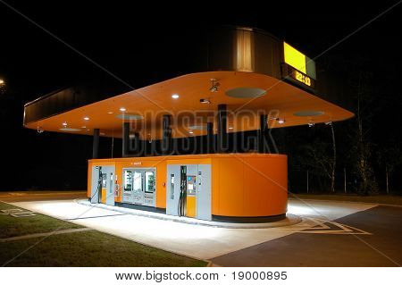Modern Self Service gas station by night