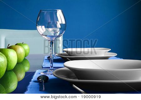 Modern blue Table Setting