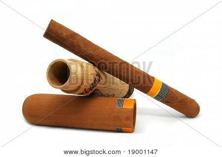 Cigar with a wooden box
