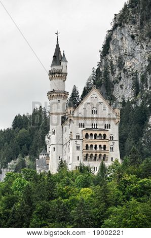 Neuschwanstein castle in Germany - bottom view
