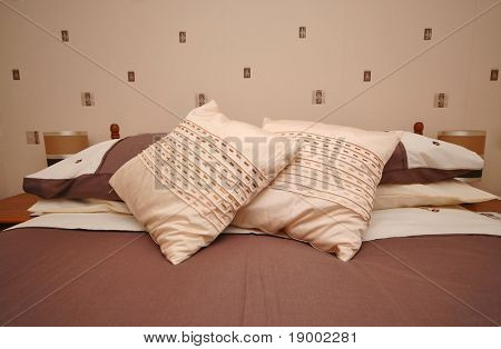 Cosy bedroom with pillows