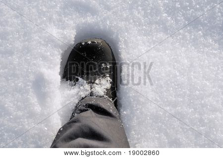 A step in a deep snow