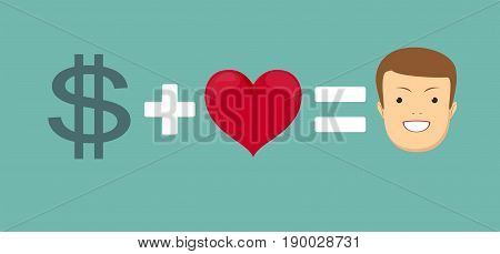 love and money makes you happy. Stock vector illustration for poster, greeting card, website, ad, business presentation, advertisement design.