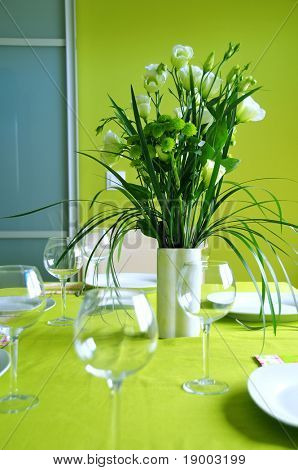 Floral green table setting