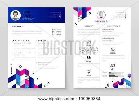 personal resume vector template illustration with abstract flat design background make your resume structured - Structured Resume