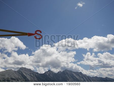 South - Direction Letter Against A Blue Sky