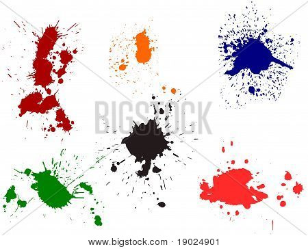 Set of various ink splatter symbols