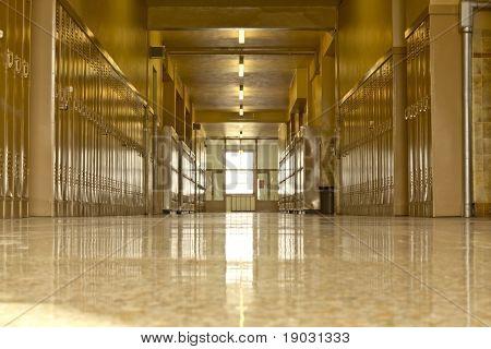 Empty High School Corridor