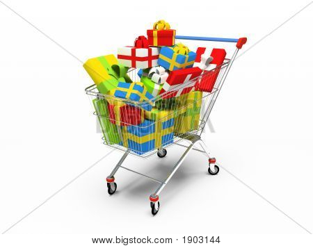 Varicoloured Gift Boxes In Shop Pushcart 3D Rendering