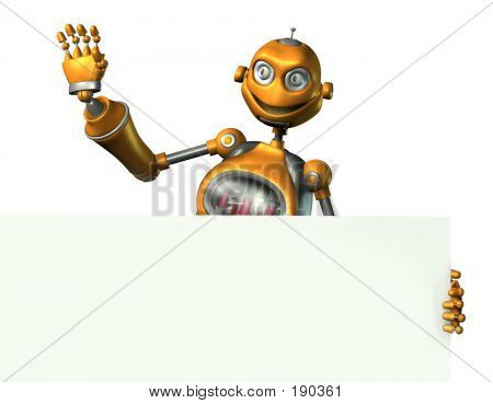 Robot With Sign Edge