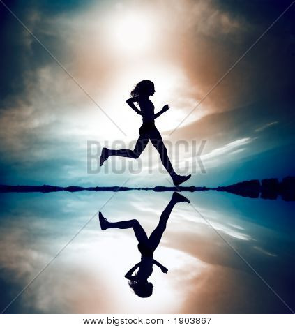 Runner Silhouetted Reflection