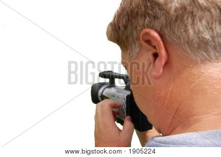 Man Filming On A White Backgound