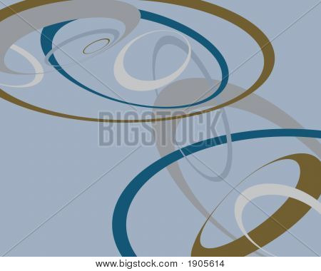Brown And Blue Swoopy Circles Background