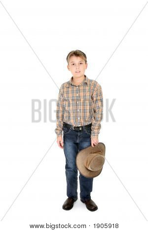 Country Boy Holding Hat