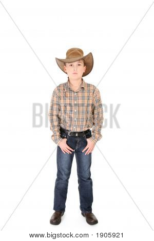 Young Cowboy On White Background