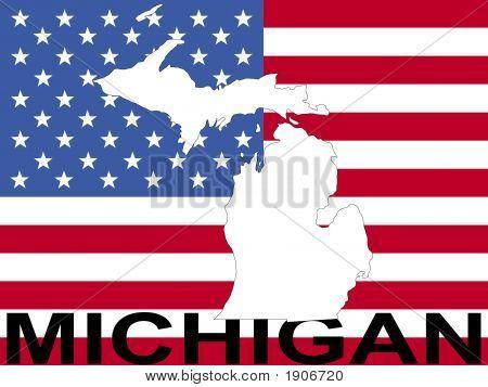 Michigan On American Flag