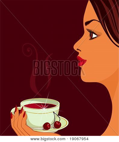 A Girl With Cherry Tea.