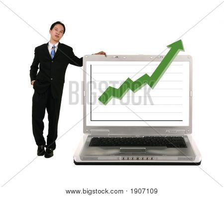 Leaning On Laptop With Stock Chart