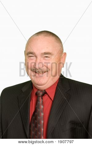 Smiling Businessman Over White